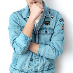 Skinny Western Denim Jacket in Light Blue Wash
